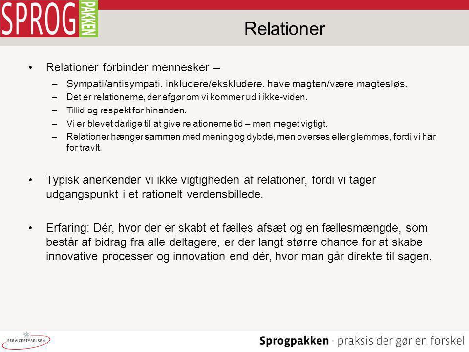 Relationer Relationer forbinder mennesker –