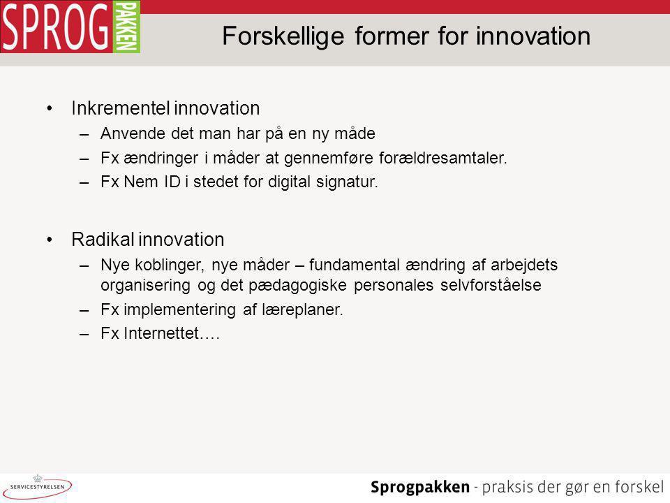 Forskellige former for innovation