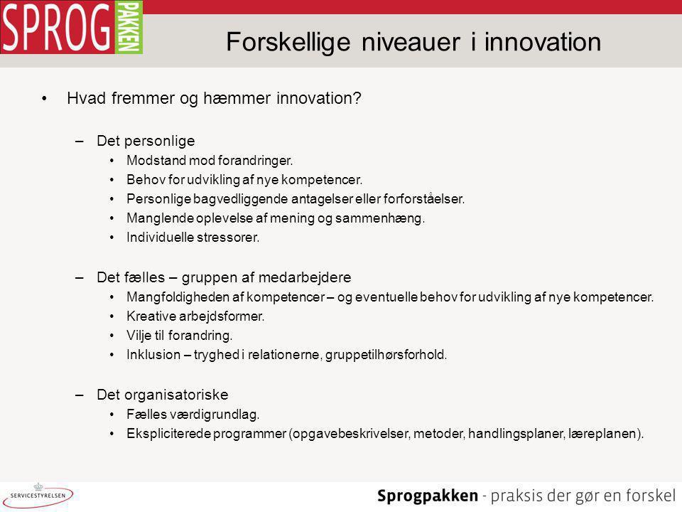 Forskellige niveauer i innovation