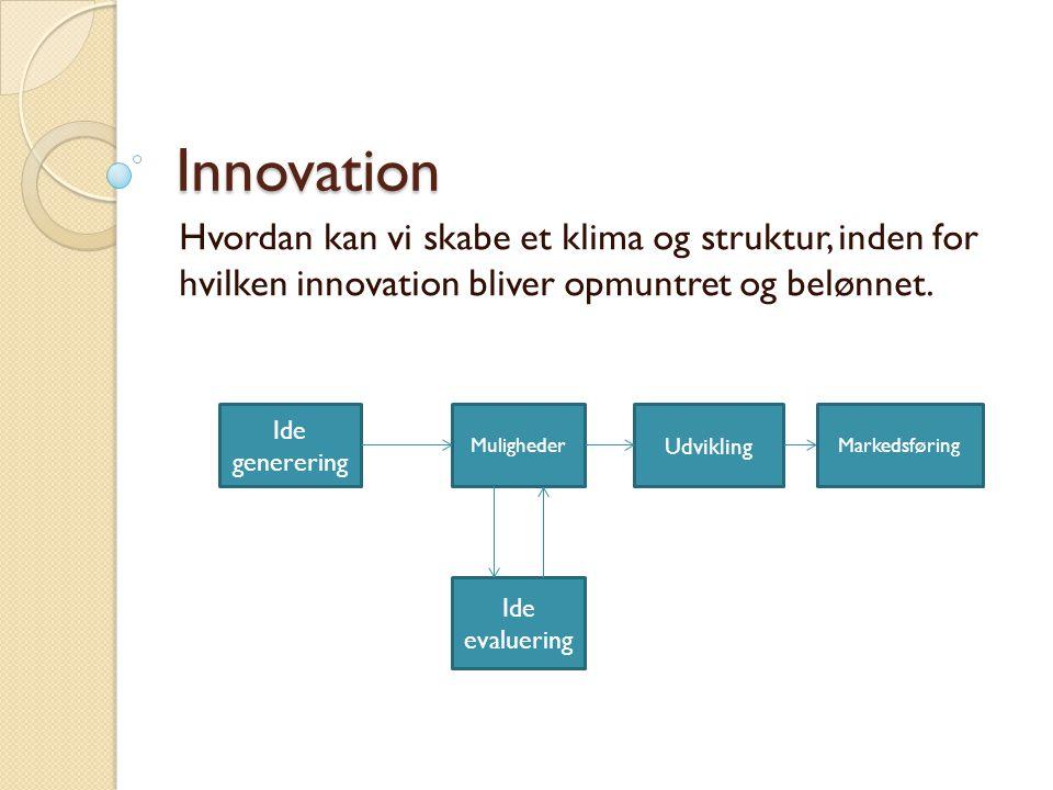 Innovation Hvordan kan vi skabe et klima og struktur, inden for hvilken innovation bliver opmuntret og belønnet.