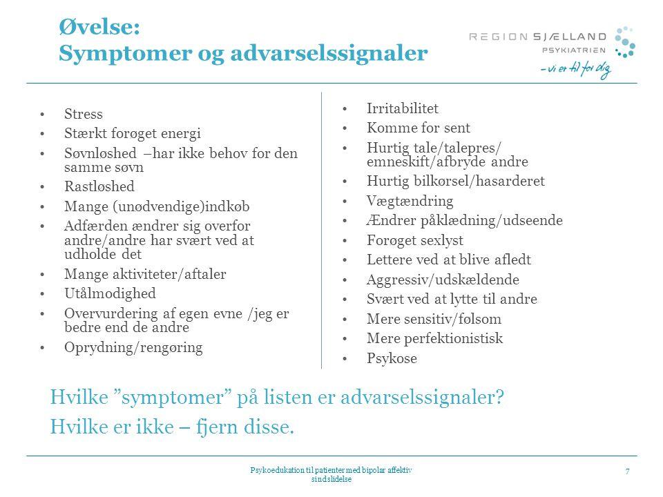Øvelse: Symptomer og advarselssignaler