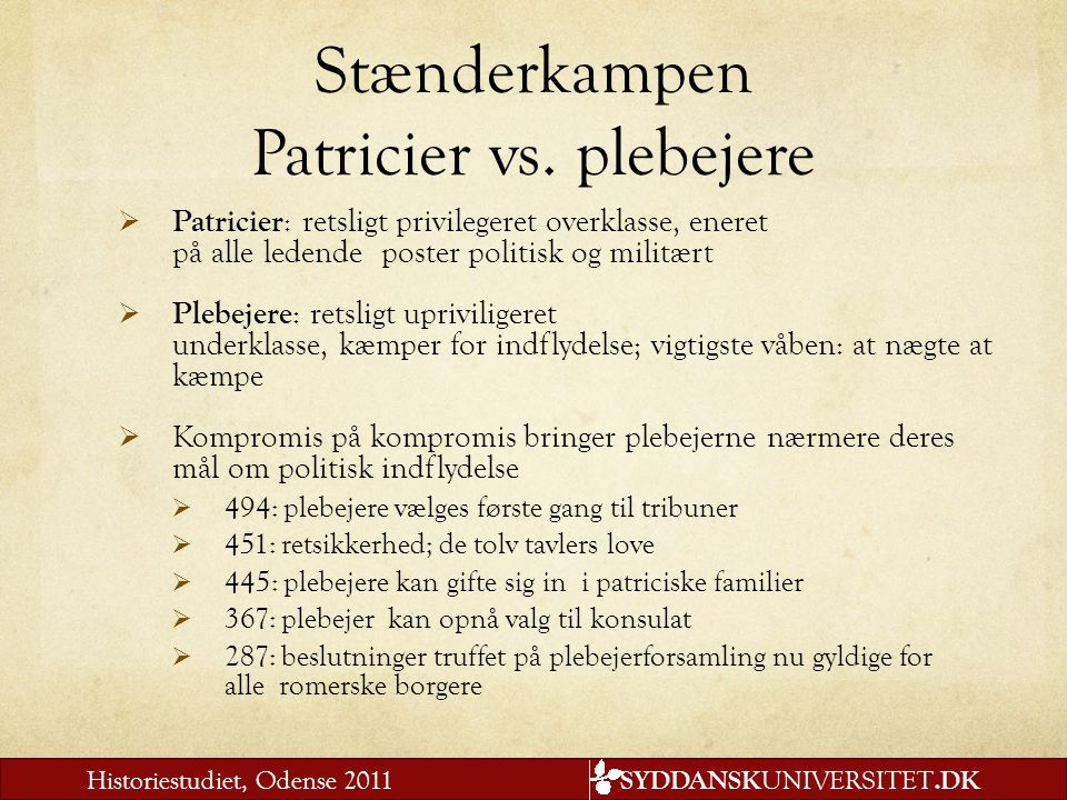 Stænderkampen Patricier vs. plebejere