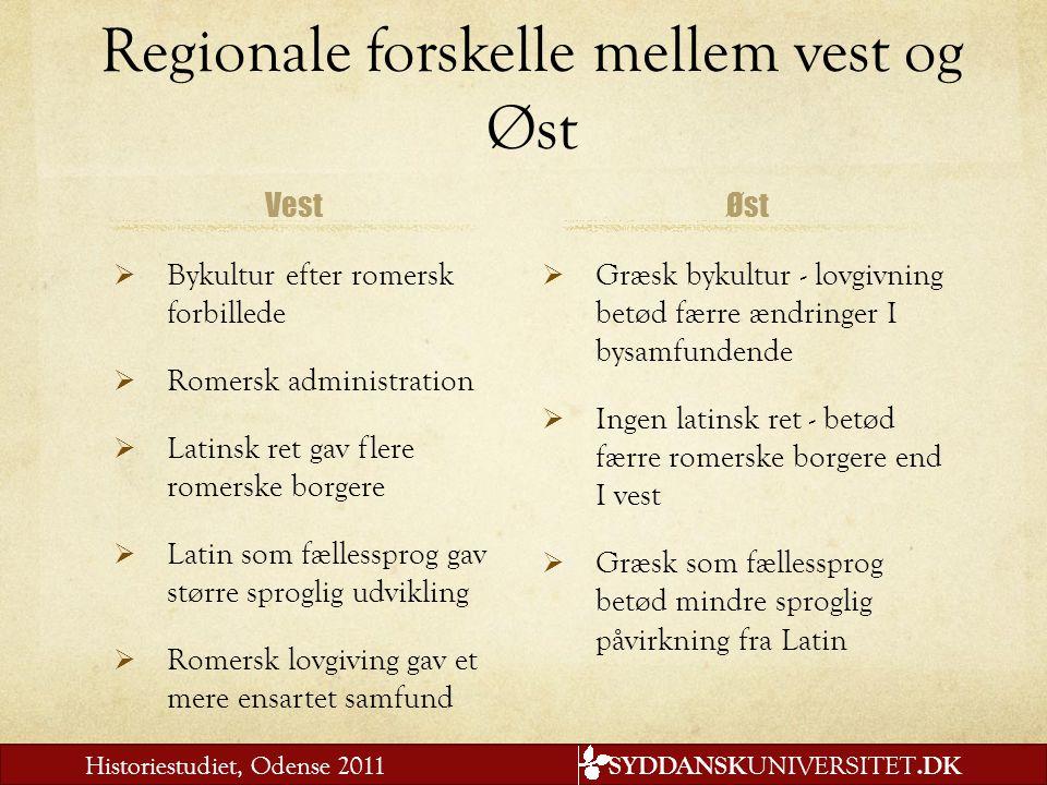 Regionale forskelle mellem vest og Øst