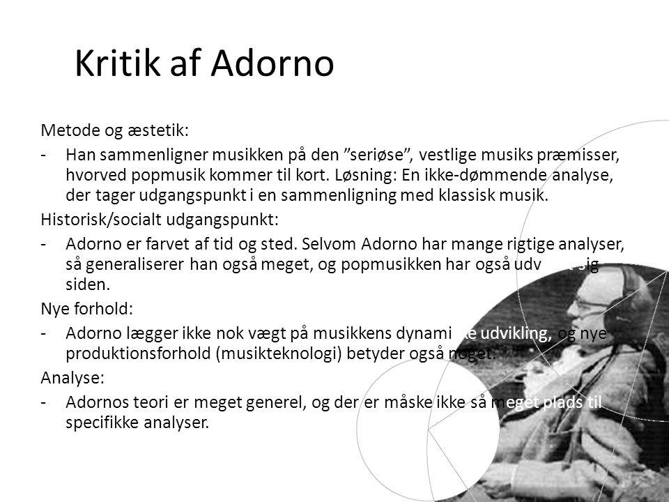 Kritik af Adorno Metode og æstetik: