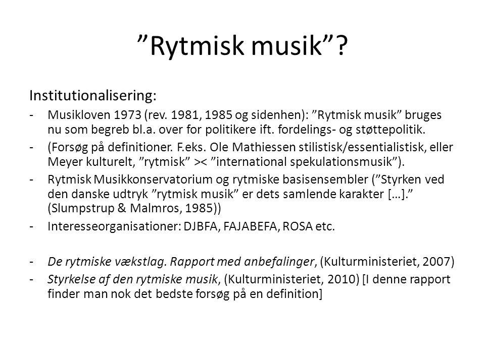 Rytmisk musik Institutionalisering:
