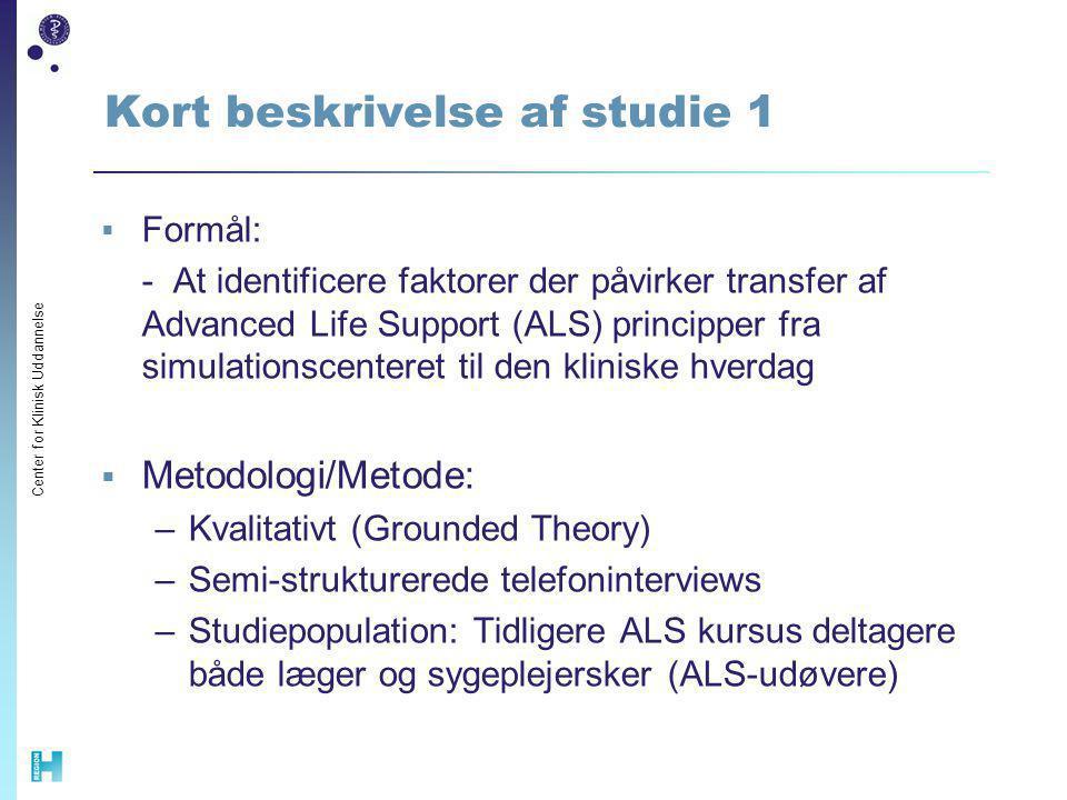 Kort beskrivelse af studie 1
