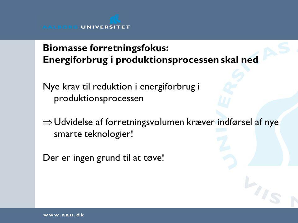 Biomasse forretningsfokus: Energiforbrug i produktionsprocessen skal ned