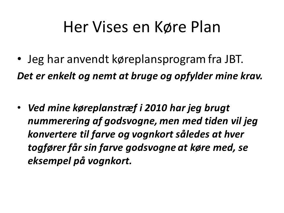 Her Vises en Køre Plan Jeg har anvendt køreplansprogram fra JBT.