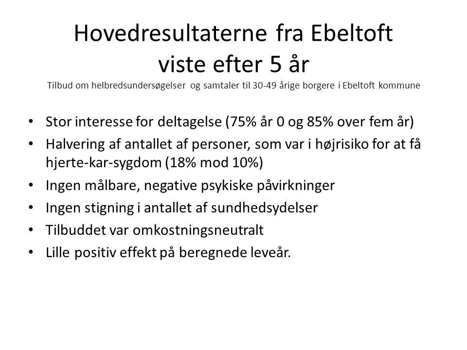 Hovedresultaterne fra Ebeltoft viste efter 5 år Tilbud om helbredsundersøgelser og samtaler til 30-49 årige borgere i Ebeltoft kommune