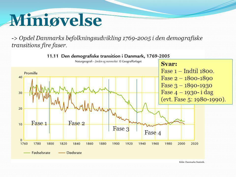 Miniøvelse -> Opdel Danmarks befolkningsudvikling 1769-2005 i den demografiske transitions fire faser.