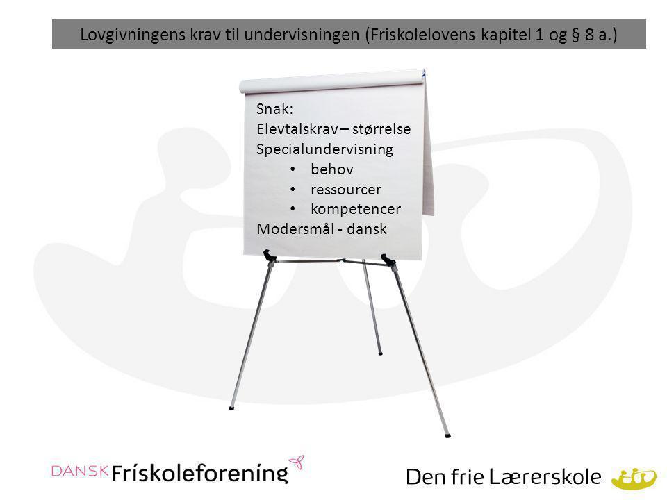 Lovgivningens krav til undervisningen (Friskolelovens kapitel 1 og § 8 a.)