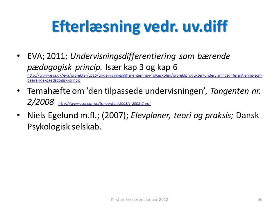 Efterlæsning vedr. uv.diff