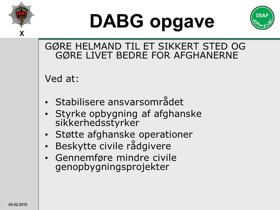 DABG opgave GØRE HELMAND TIL ET SIKKERT STED OG GØRE LIVET BEDRE FOR AFGHANERNE. Ved at: Stabilisere ansvarsområdet.