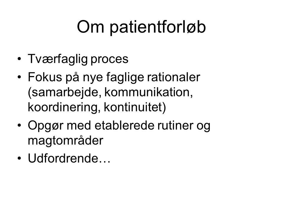 Om patientforløb Tværfaglig proces