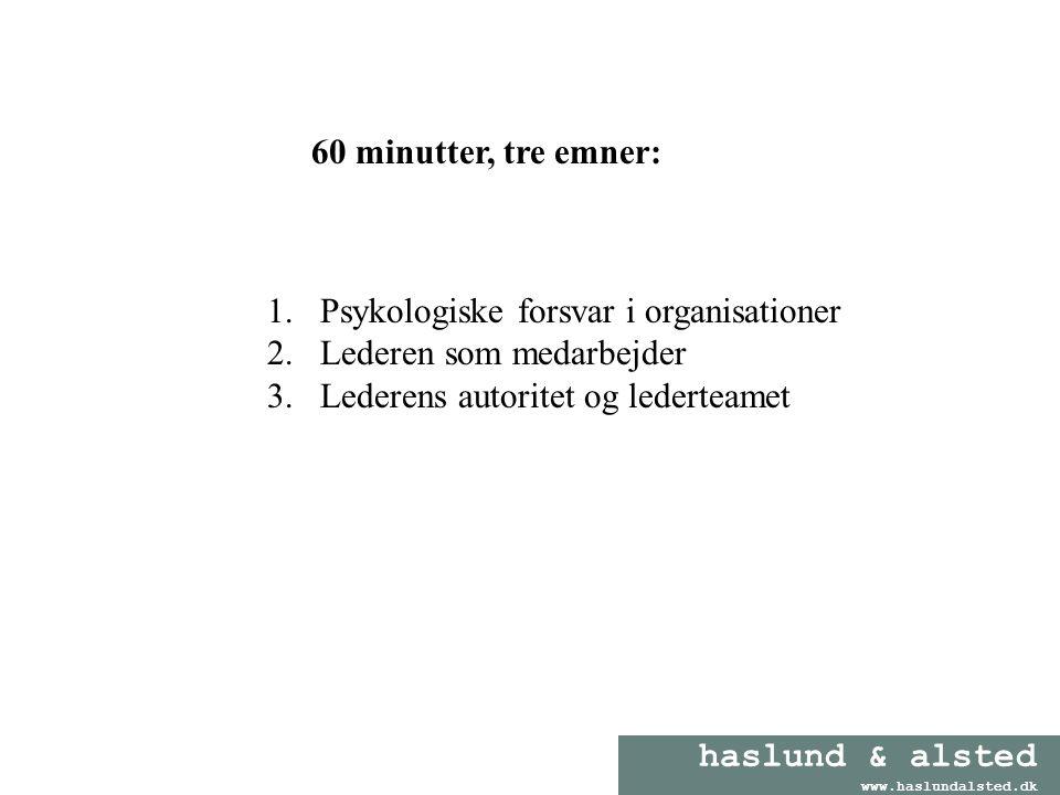 60 minutter, tre emner: Psykologiske forsvar i organisationer.