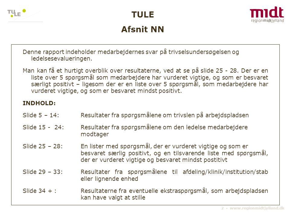 TULE Afsnit NN. Denne rapport indeholder medarbejdernes svar på trivselsundersøgelsen og ledelsesevalueringen.