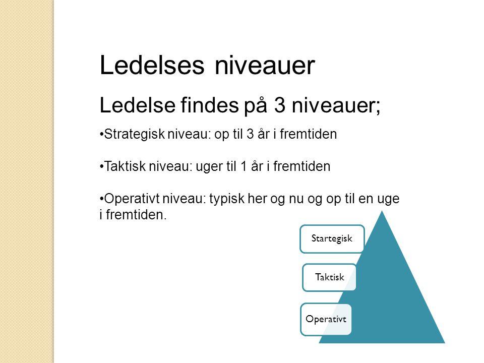 Ledelses niveauer Ledelse findes på 3 niveauer;