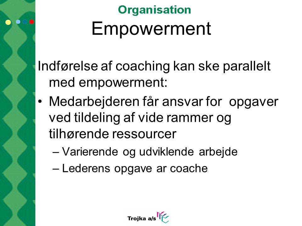 Empowerment Indførelse af coaching kan ske parallelt med empowerment: