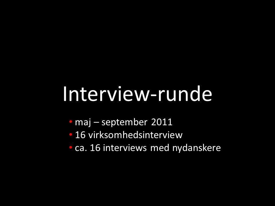 Interview-runde maj – september 2011 16 virksomhedsinterview
