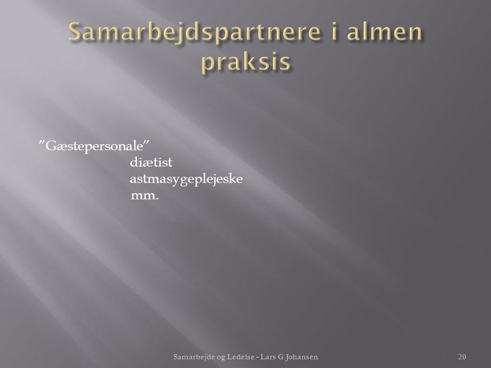 Samarbejdspartnere i almen praksis