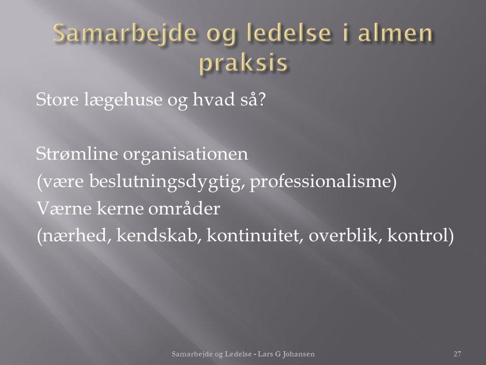Samarbejde og ledelse i almen praksis