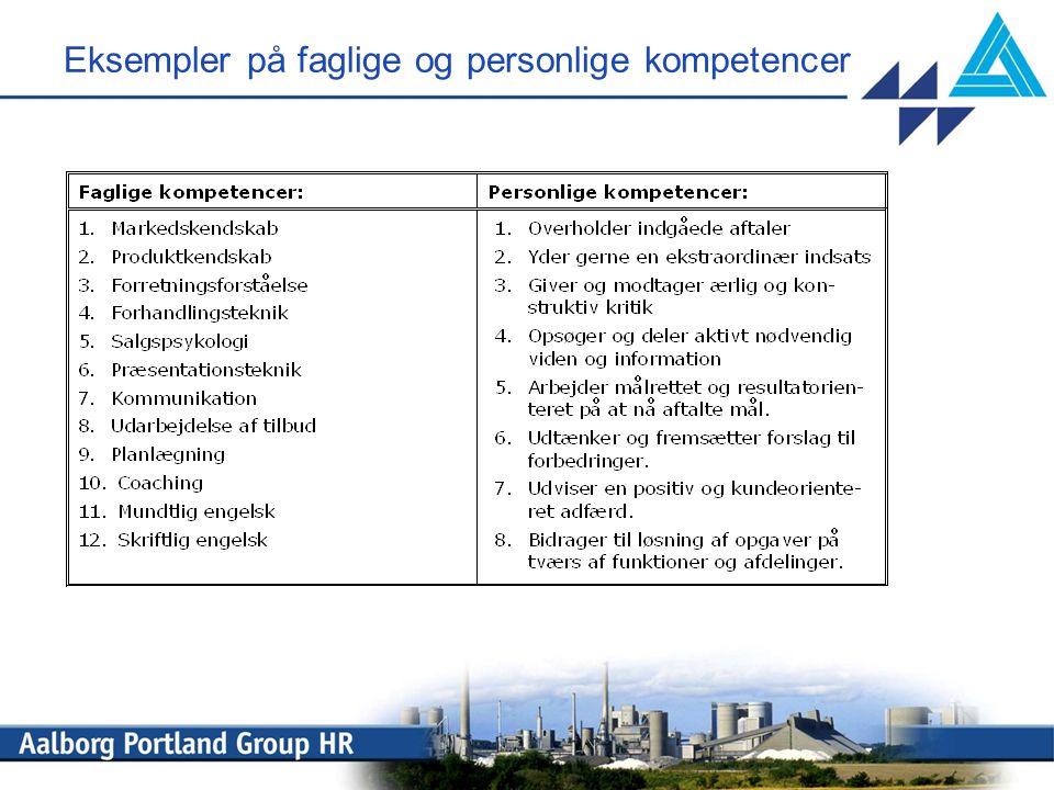 Eksempler på faglige og personlige kompetencer
