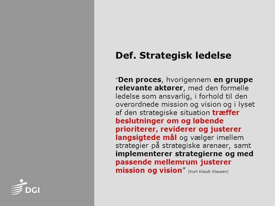 Def. Strategisk ledelse