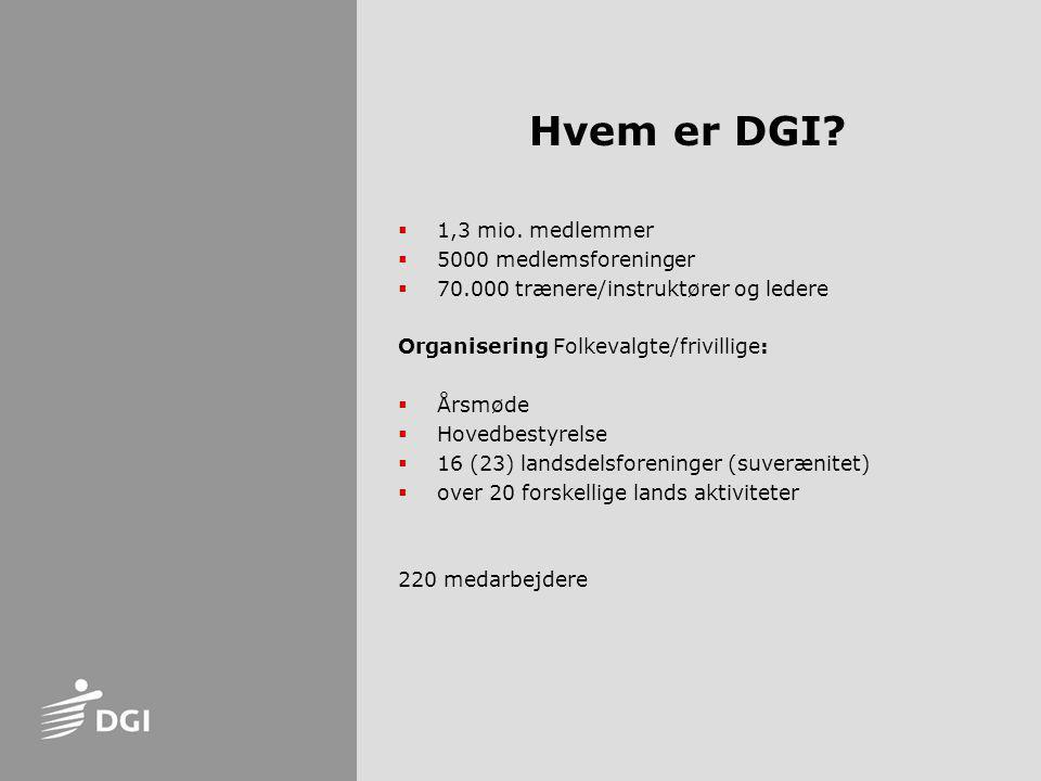 Hvem er DGI 1,3 mio. medlemmer 5000 medlemsforeninger