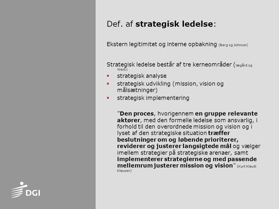 Def. af strategisk ledelse: