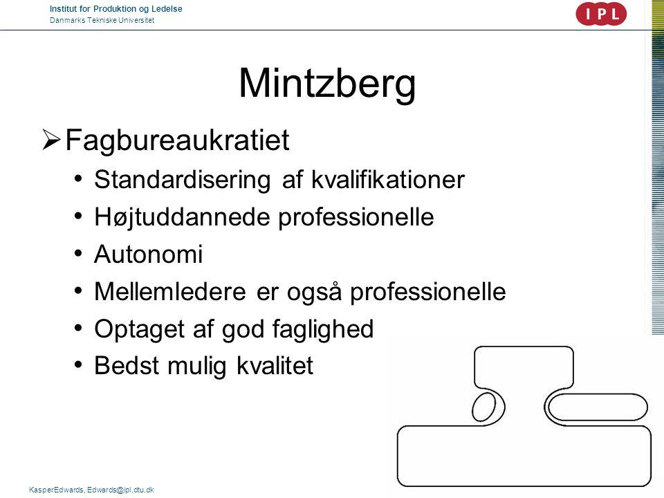 Mintzberg Fagbureaukratiet Standardisering af kvalifikationer