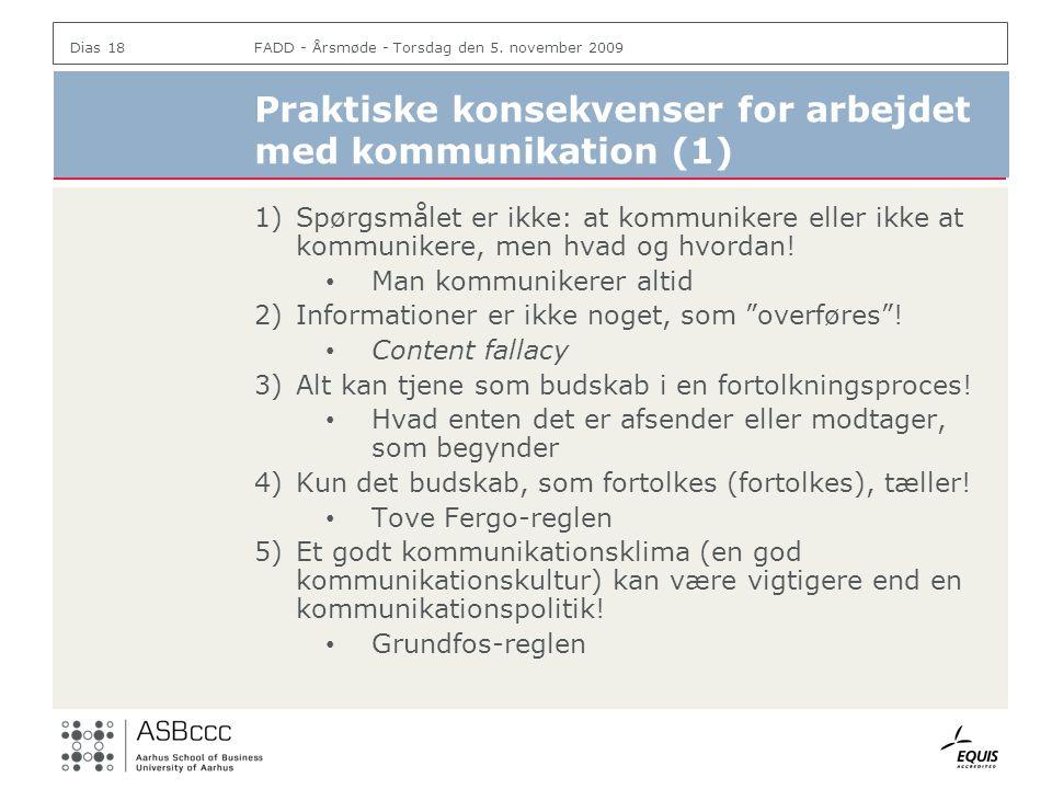 Praktiske konsekvenser for arbejdet med kommunikation (1)