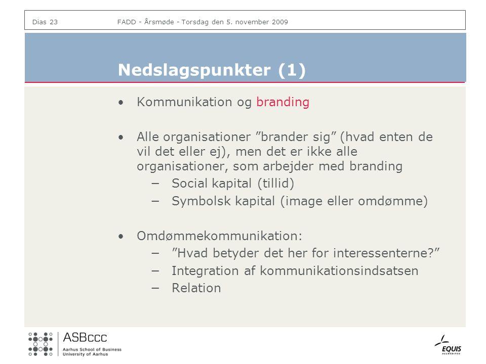 Nedslagspunkter (1) Kommunikation og branding