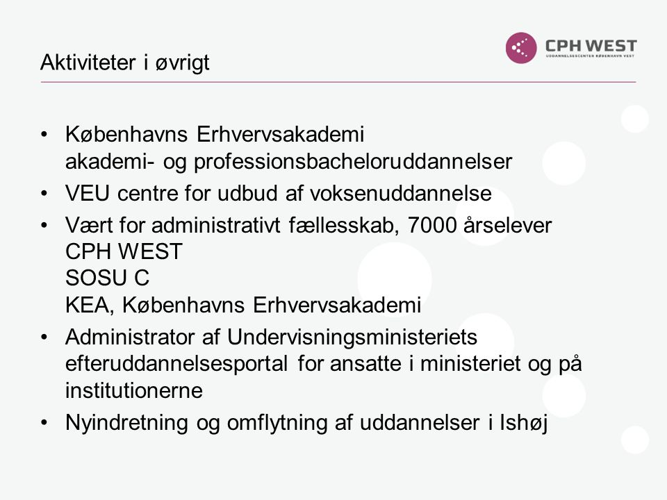 Aktiviteter i øvrigt Københavns Erhvervsakademi akademi- og professionsbacheloruddannelser. VEU centre for udbud af voksenuddannelse.