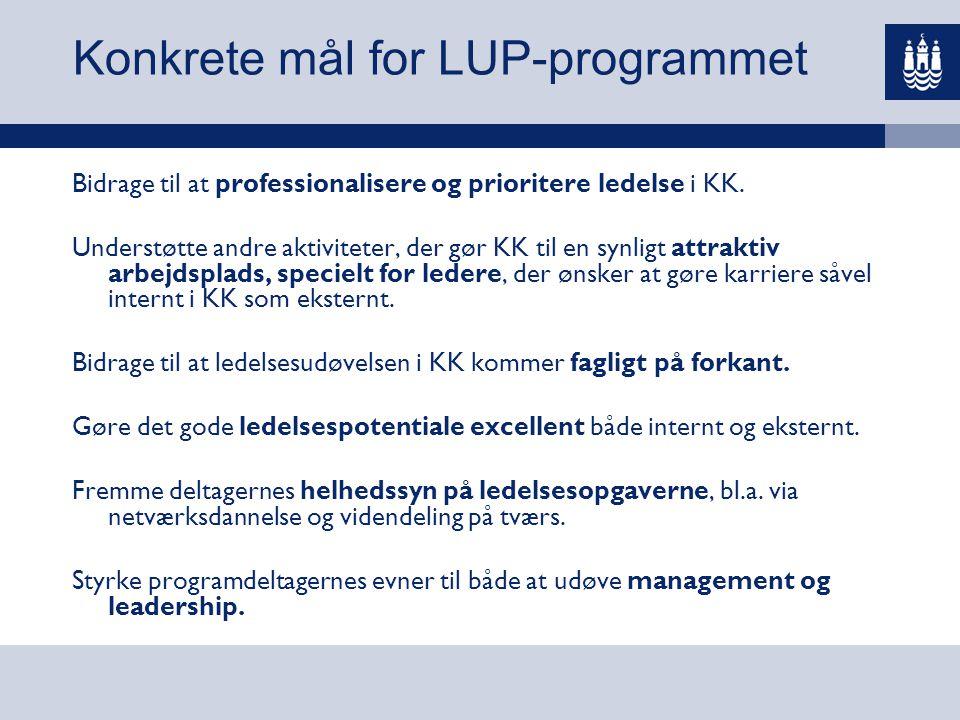 Konkrete mål for LUP-programmet