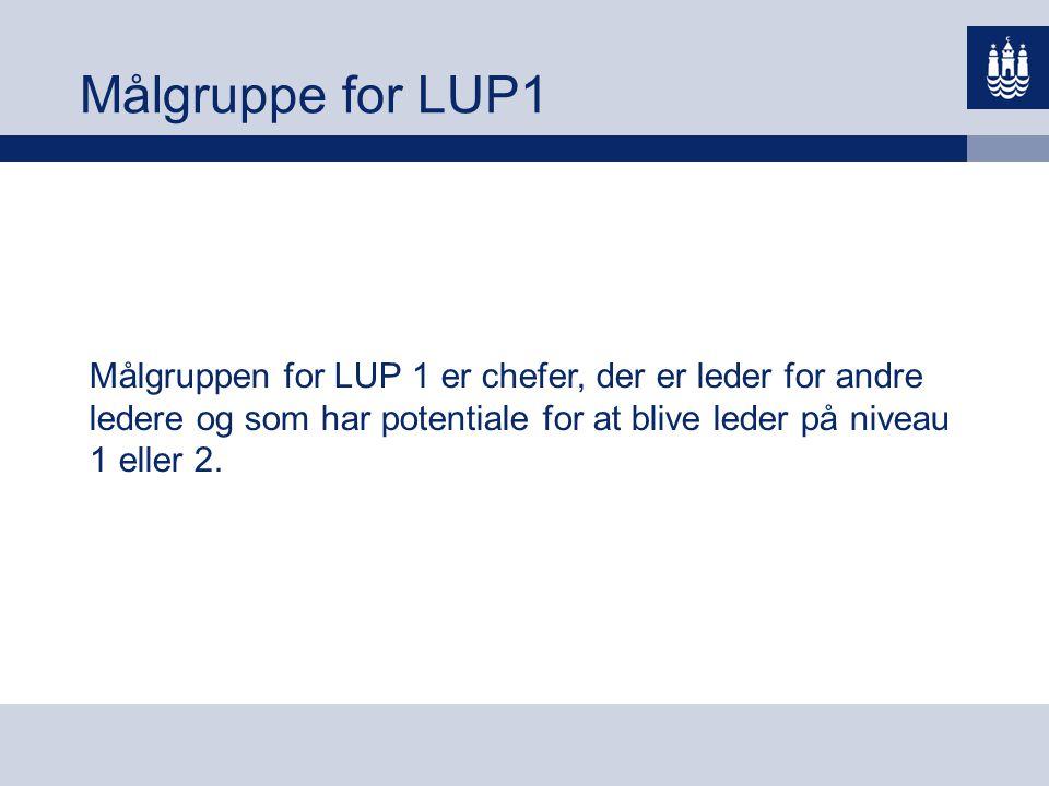 Målgruppe for LUP1 Målgruppen for LUP 1 er chefer, der er leder for andre ledere og som har potentiale for at blive leder på niveau 1 eller 2.