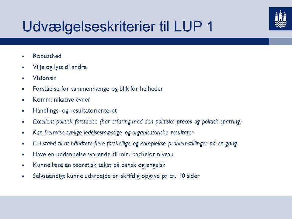 Udvælgelseskriterier til LUP 1