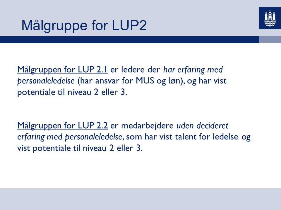 Målgruppe for LUP2