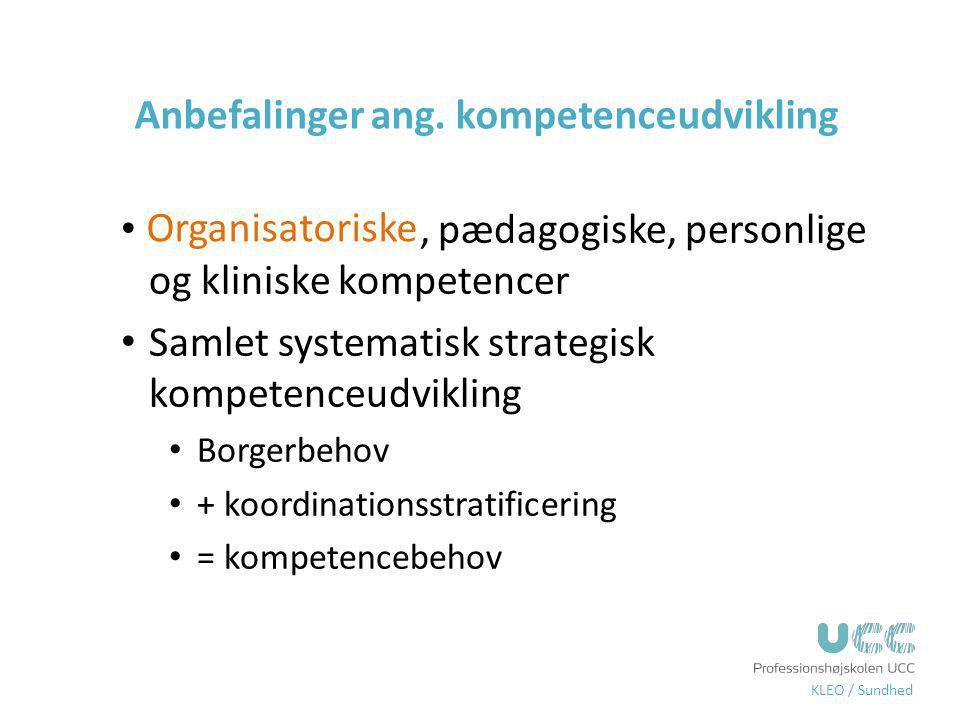 Anbefalinger ang. kompetenceudvikling