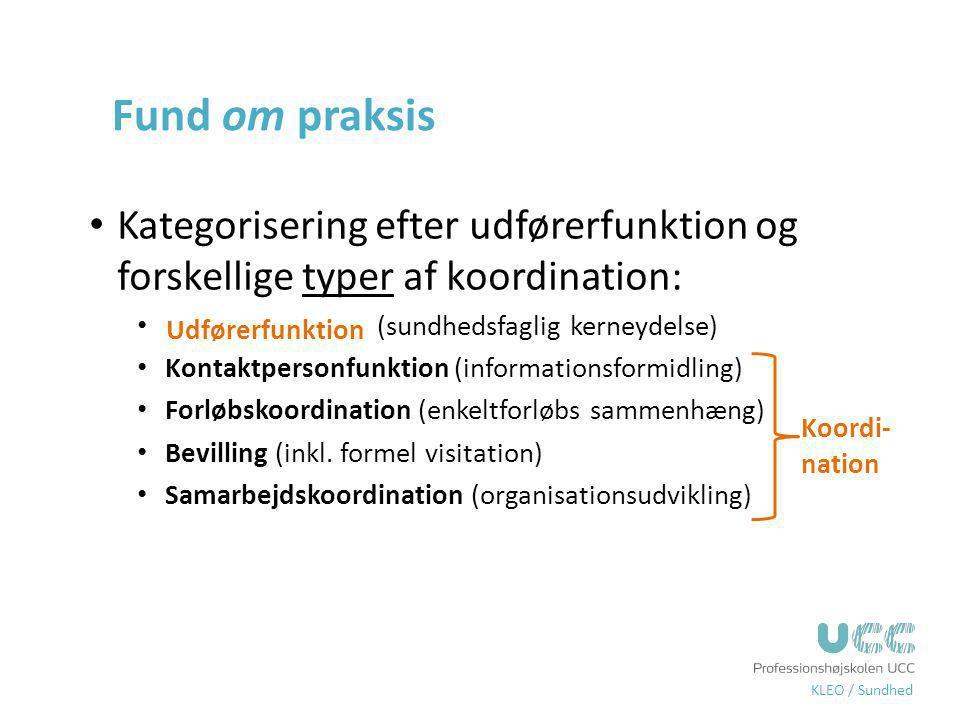 Fund om praksis Kategorisering efter udførerfunktion og forskellige typer af koordination: Udførerfunktion (sundhedsfaglig kerneydelse)