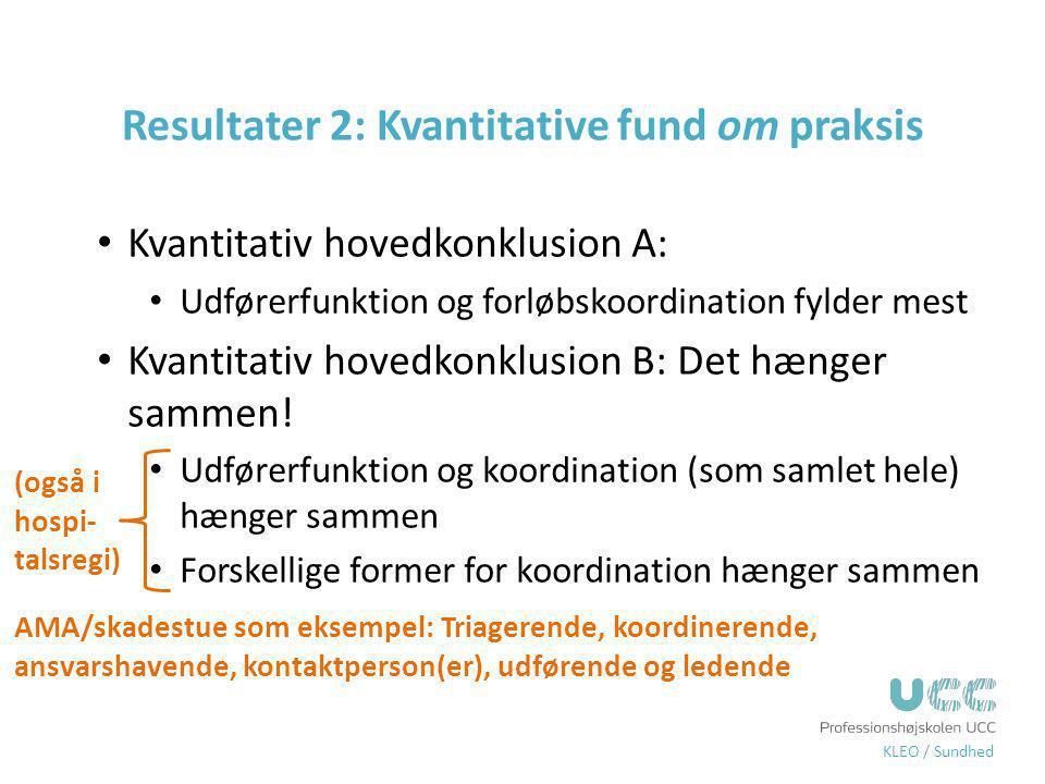 Resultater 2: Kvantitative fund om praksis