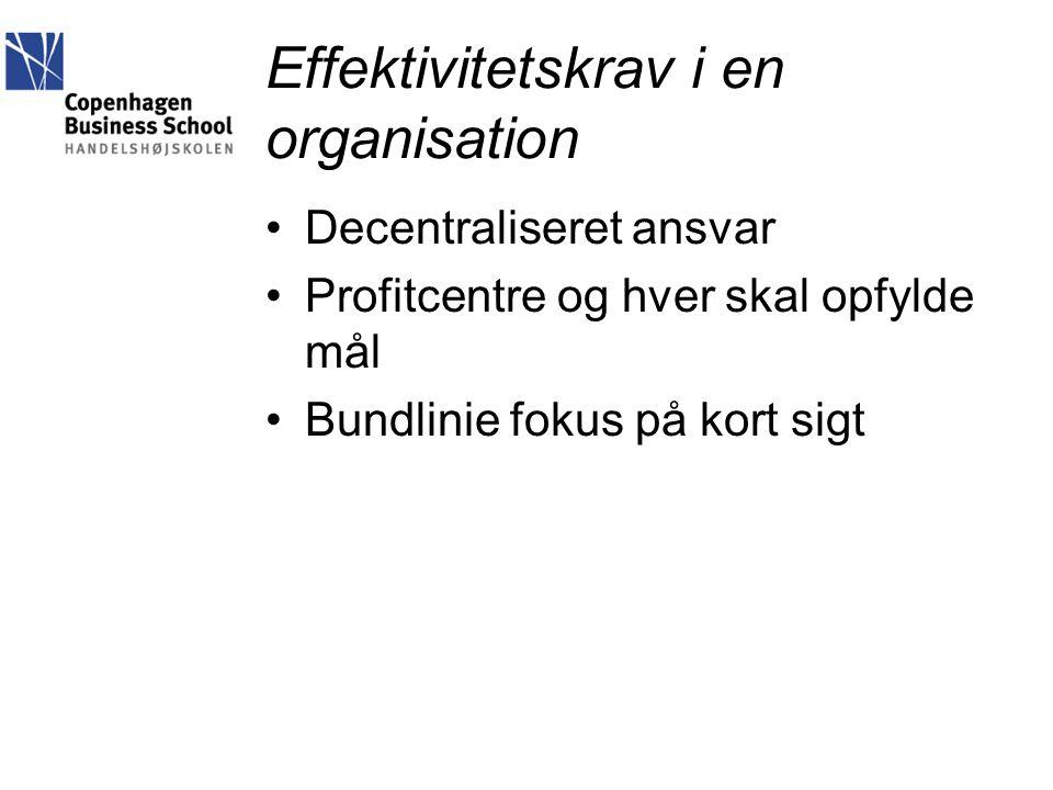 Effektivitetskrav i en organisation