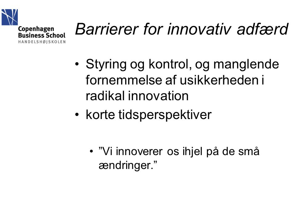 Barrierer for innovativ adfærd