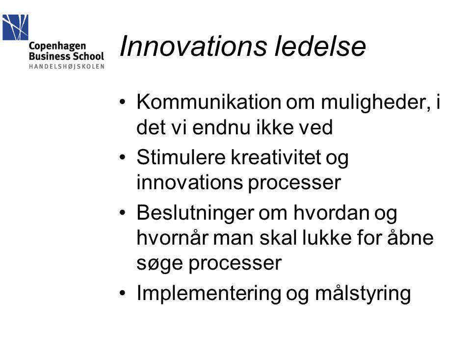 Innovations ledelse Kommunikation om muligheder, i det vi endnu ikke ved. Stimulere kreativitet og innovations processer.