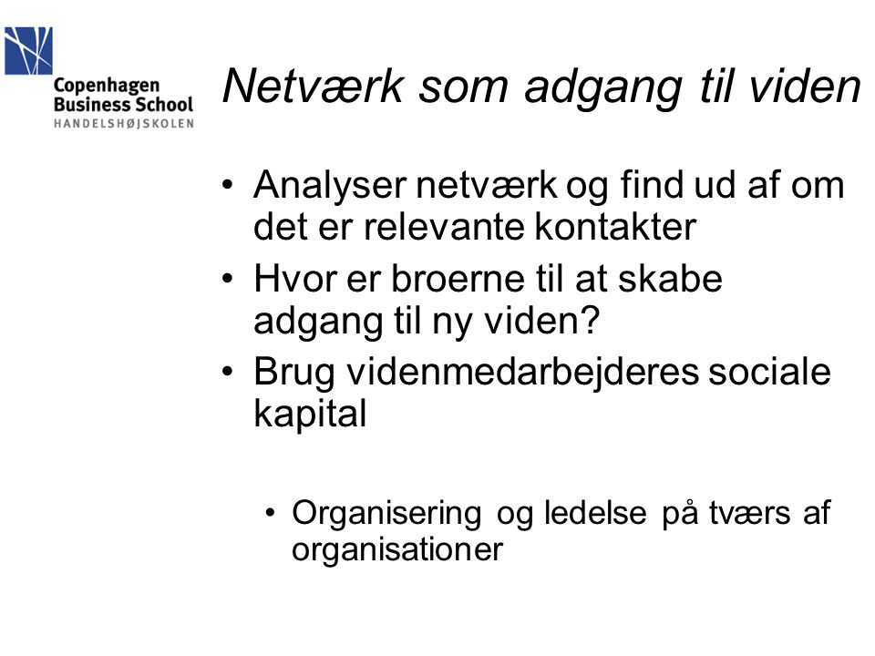 Netværk som adgang til viden