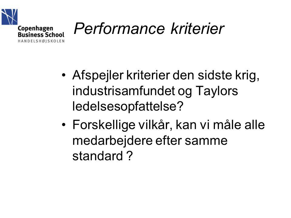 Performance kriterier