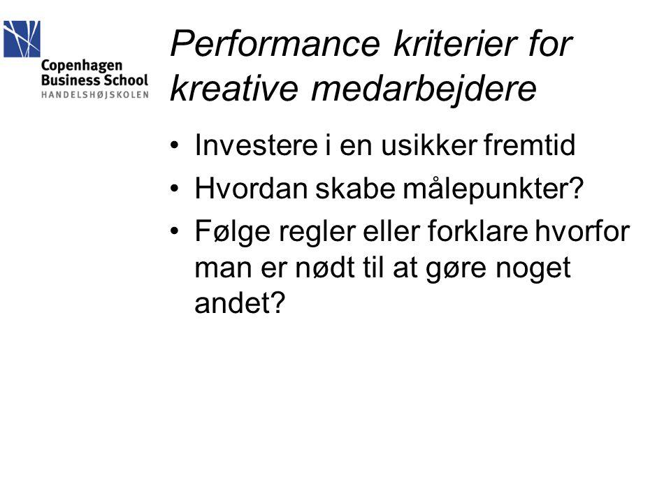 Performance kriterier for kreative medarbejdere