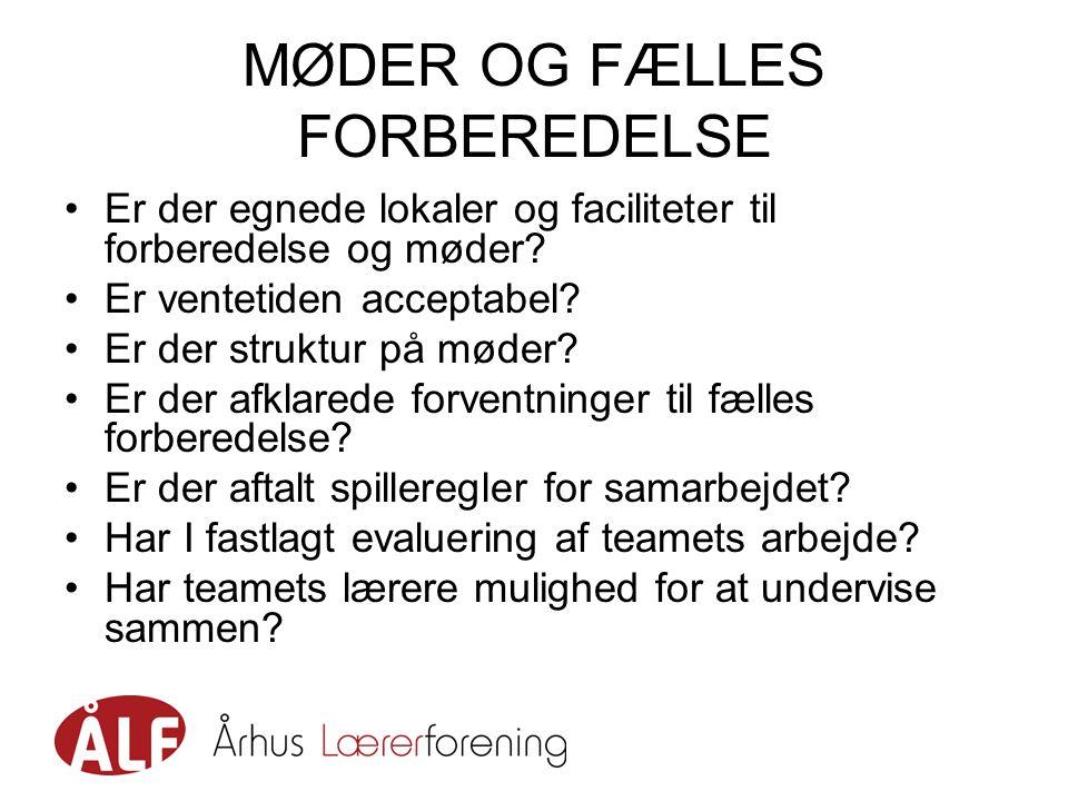 MØDER OG FÆLLES FORBEREDELSE