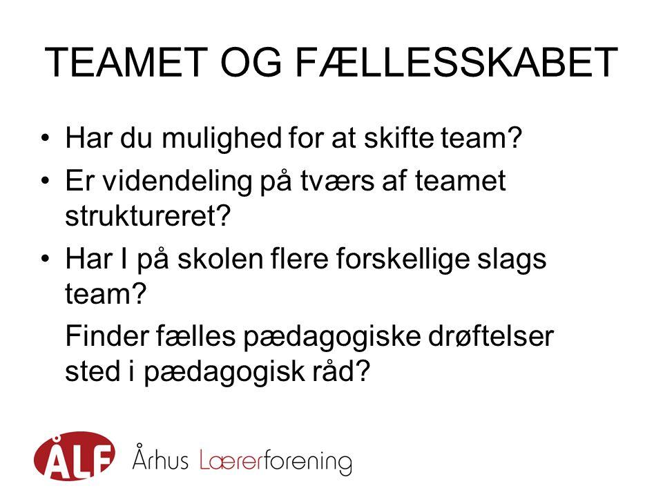 TEAMET OG FÆLLESSKABET