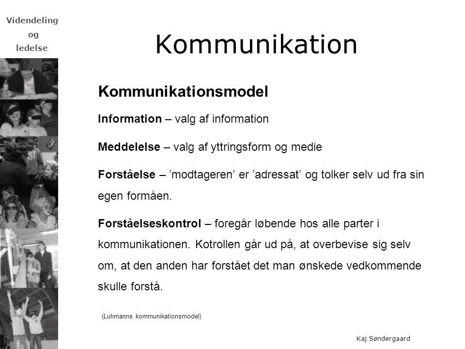 Kommunikation Kommunikationsmodel Information – valg af information