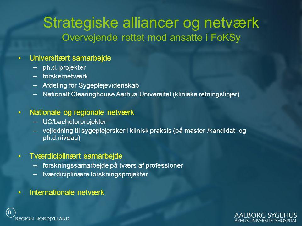 Strategiske alliancer og netværk Overvejende rettet mod ansatte i FoKSy